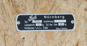 Identification plate for TR 500